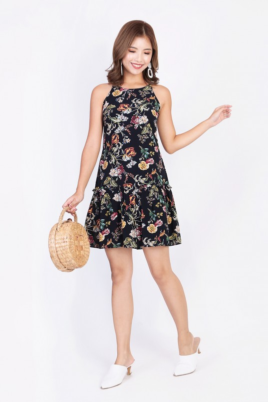 abdd7a51f35 Bellyn Floral Halter Dress in Dark Navy