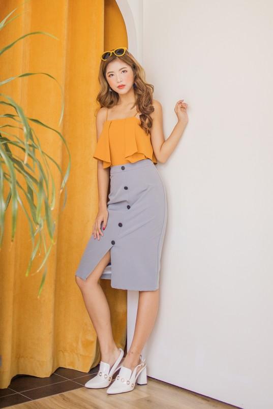 80a92766f0f54e Verron Button Down Skirt in Greyish-Blue
