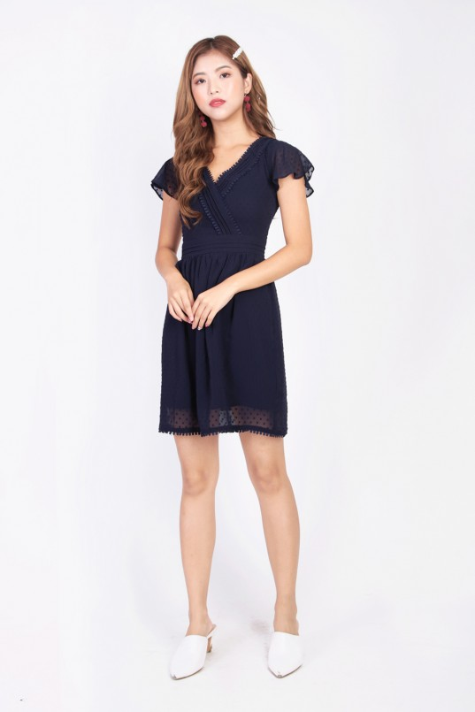 9085274b0a Chrysine Dotted Dress in Navy