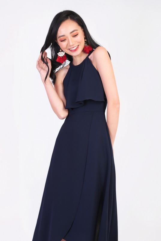 5375ddd522f3 Janis Overlay Maxi Dress in Navy