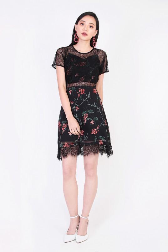 500d57fce9 Yannes Floral Lace Dress in Black