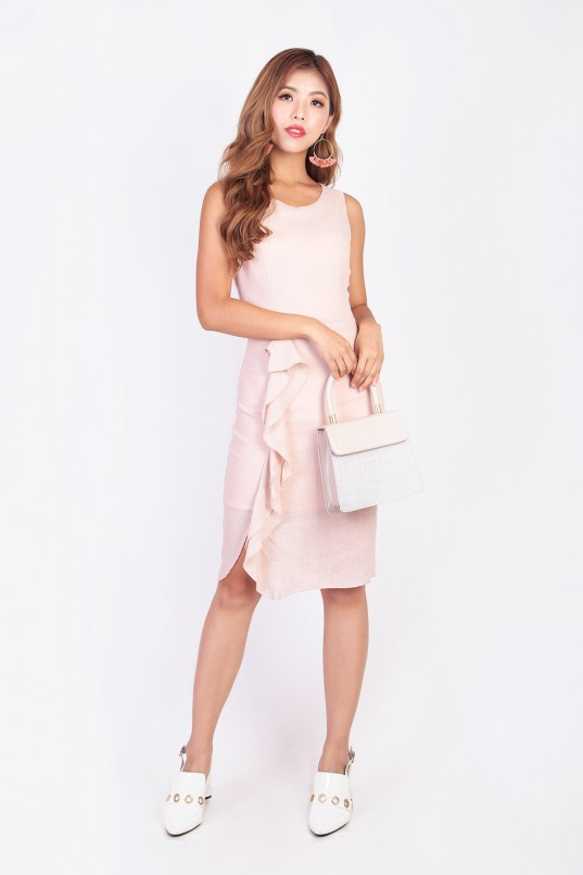 68d45e5f4af Rozanna Ruffle Dress in Nude Pink