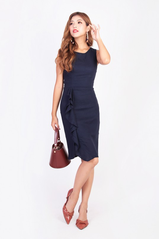 1c752255b1f Rozanna Ruffle Dress in Navy