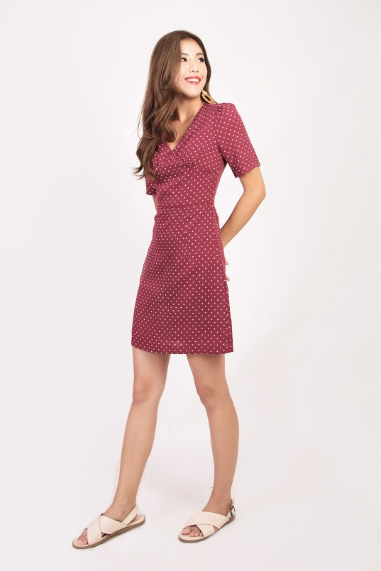 7c8216d51f9 RESTOCK  Evangeline Polka Dot Dress in Wine