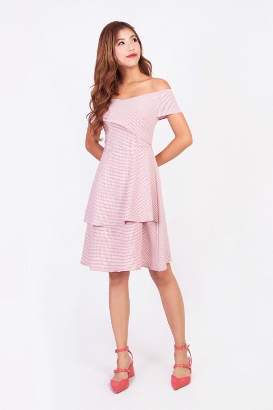 30435ef2908 Ista Off Shoulder Gingham Dress in Pink