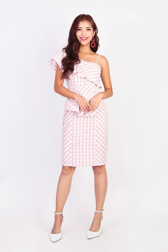 b97c2e41b3d2 Aricia Gingham Dress in Pink
