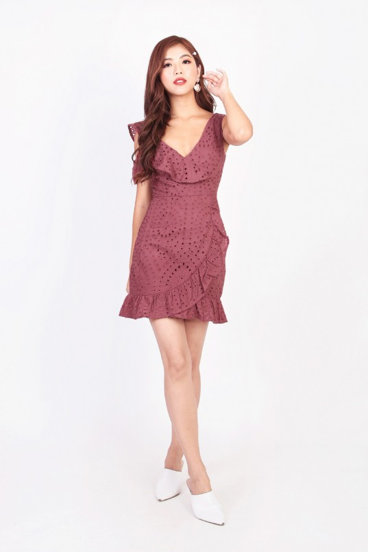 4b71fcc3c6 Richelle Eyelet Romper-Dress in Plum