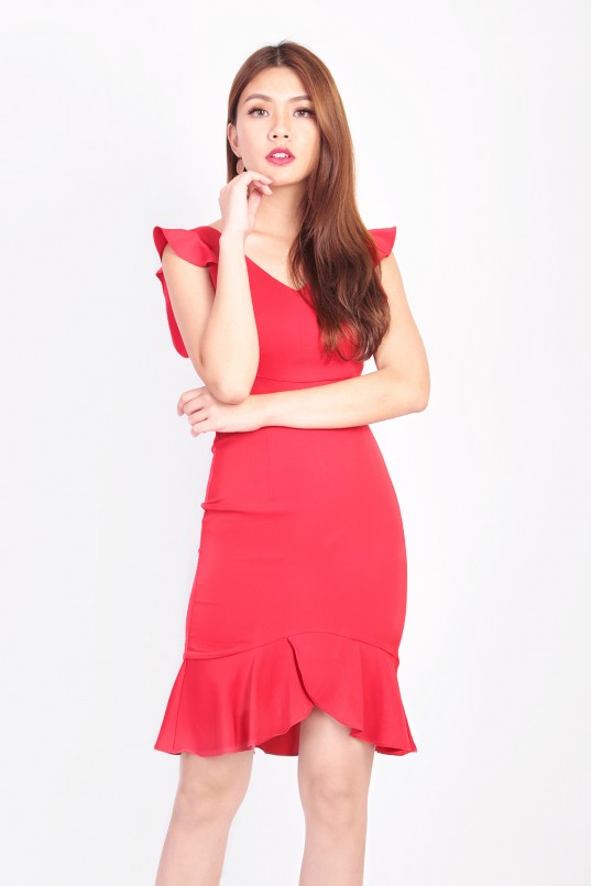 193eab992c3 RESTOCK  Mia Flutter Dress in Red
