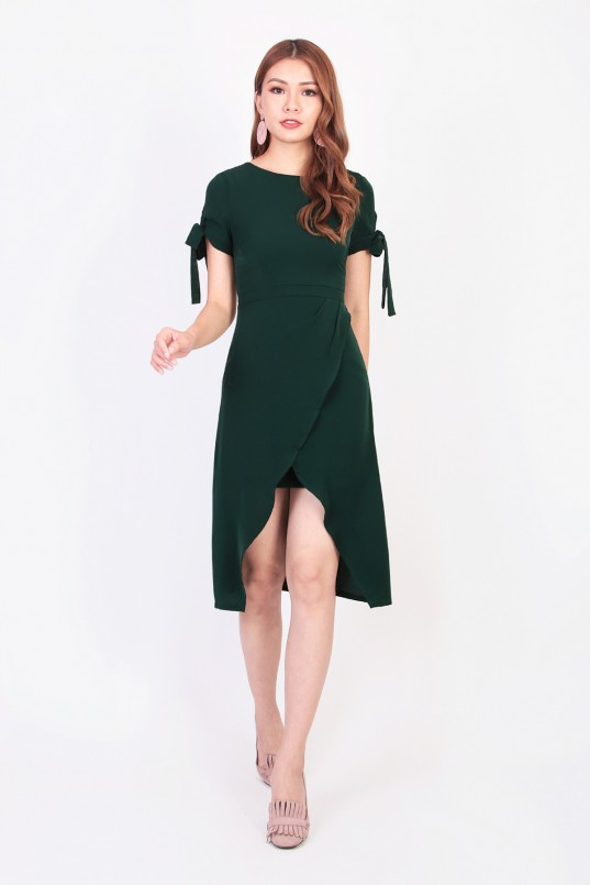 1df362cc751e8 Trista Overlay Dress in Forest Green