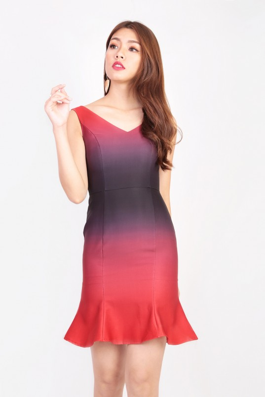 9ca61f2f6a3c RESTOCK: Elise Ombre Dress in Red