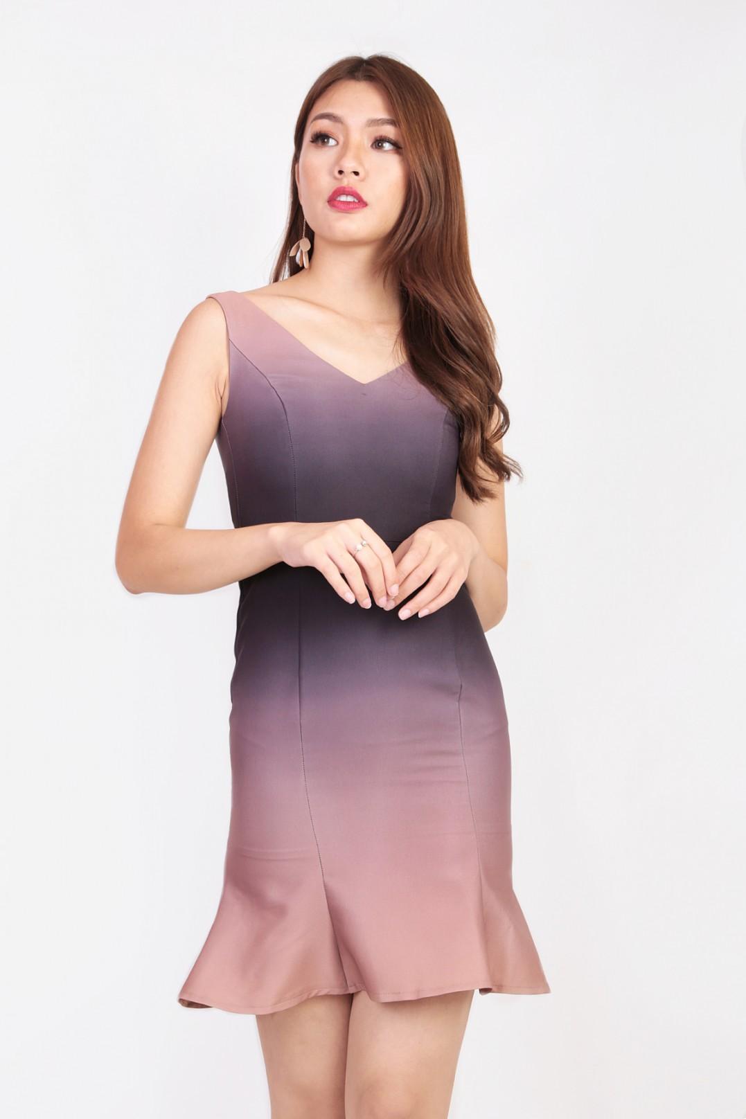 c062fde52 RESTOCK: Elise Ombre Dress in Auburn - MGP
