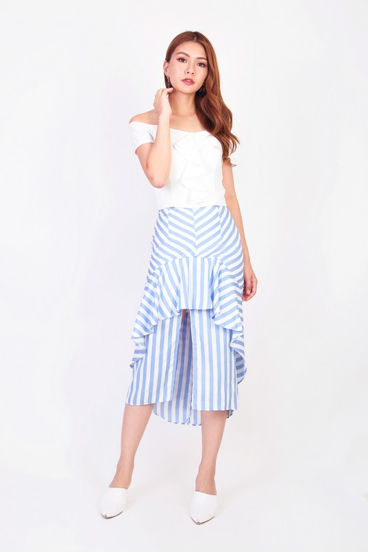 1dda494b6 Fynn Overlay Stripes Skirt in Blue