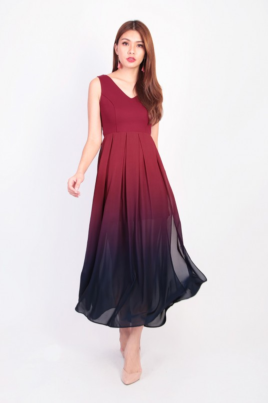 818b433799 Jazreel Ombre Maxi Dress in Wine Red