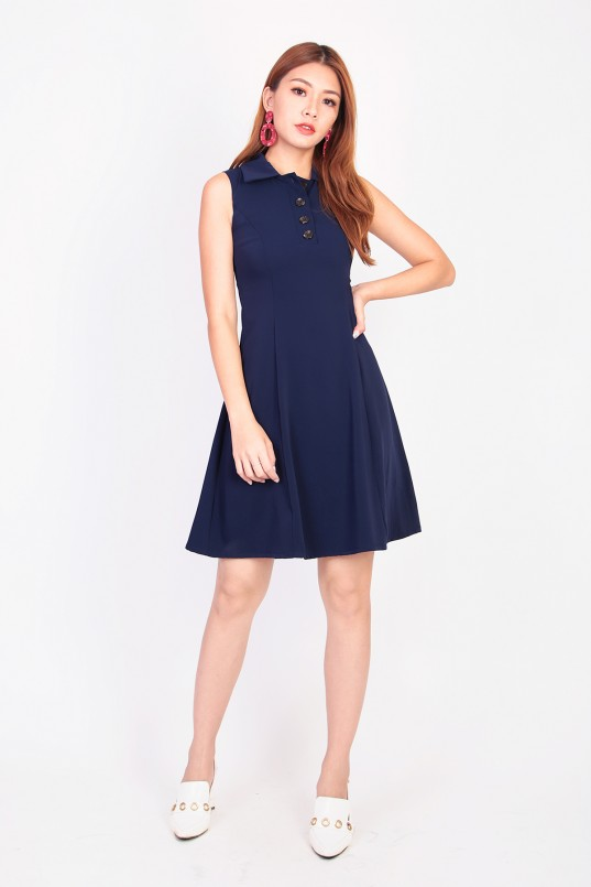 1ed12d7a084b Tracie Collar Dress in Navy .