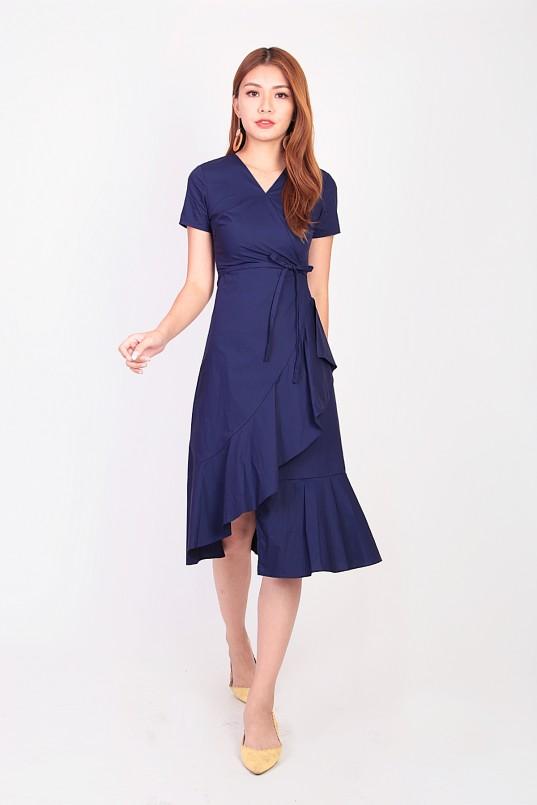 5242a92f Philisa Ruffle Wrap Dress in Navy