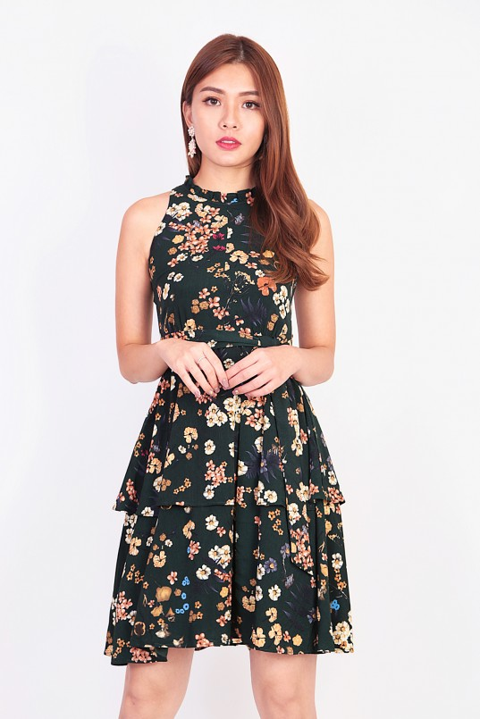 19b67c733 Victoria Floral Tiered Dress in Forest Green