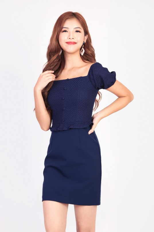 e9a280c37332c Raely Textured Workdress in Navy