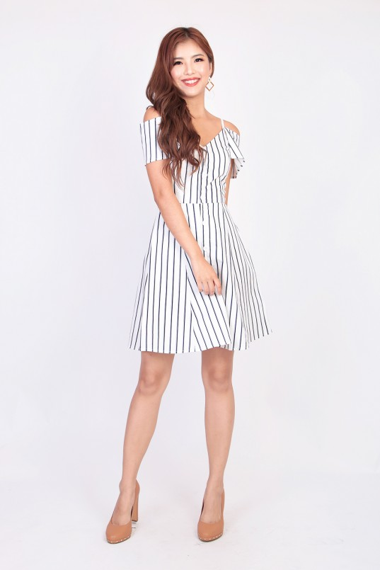 a921abcb47 Katja Stripes Cold Shoulder Dress in White · You will ...