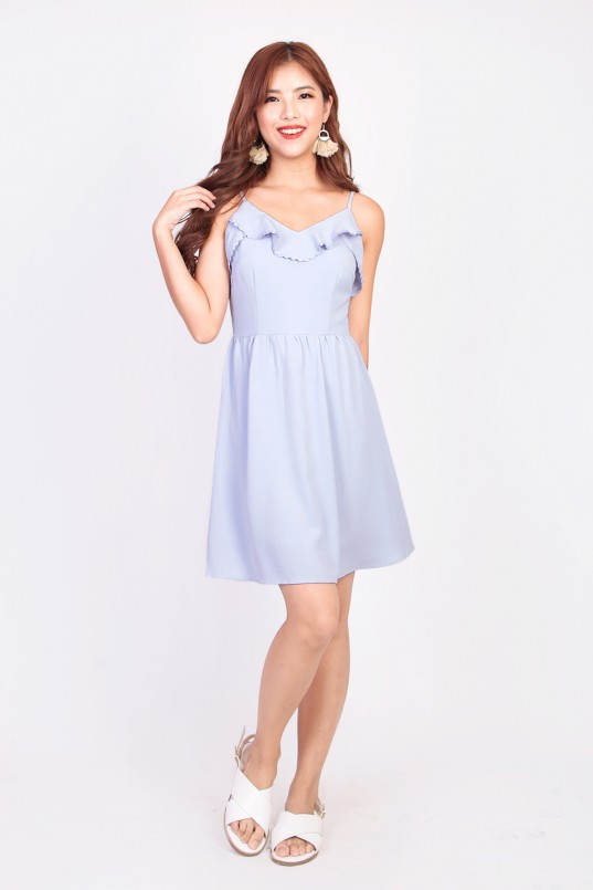 c656413e41a19 Delaney Ruffle Dress in Powder Blue