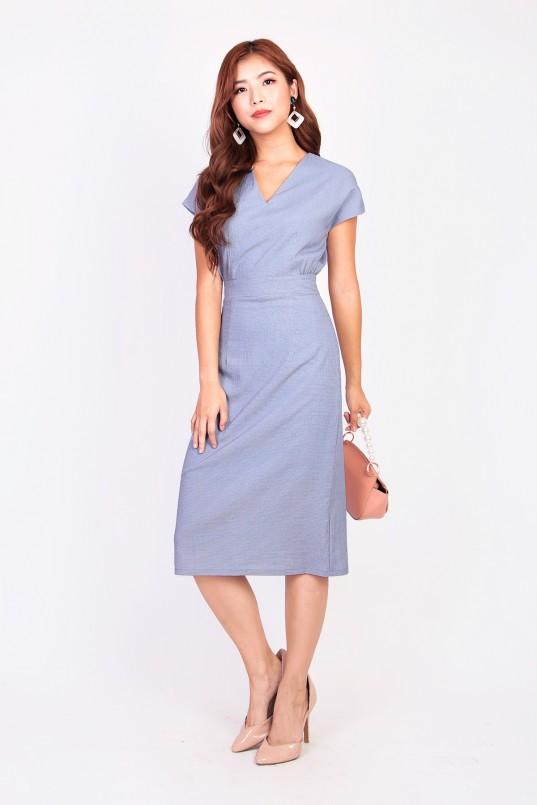 e8fc08a360 Norella Grid Midi Dress in Blue
