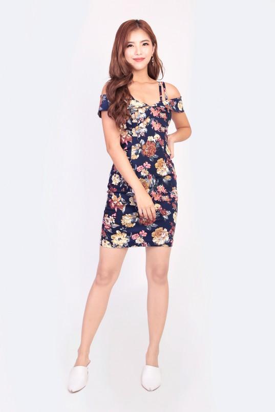 ac360aa326da98 Micah Floral Cold Shoulder Dress in Navy