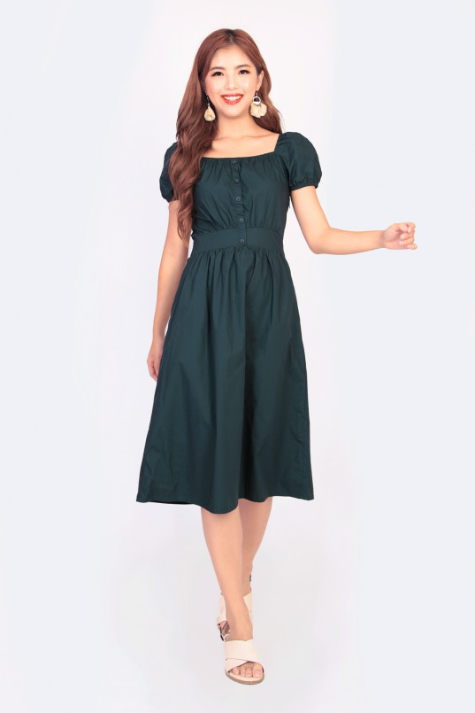 61599a155e Amelyn Midi Dress in Forest Green