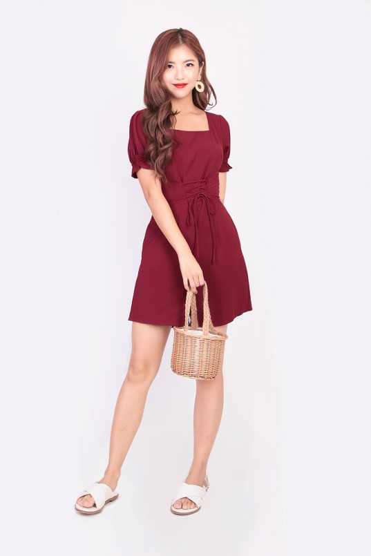 5a509196d423 Celeste Lace-up Romper in Wine Red