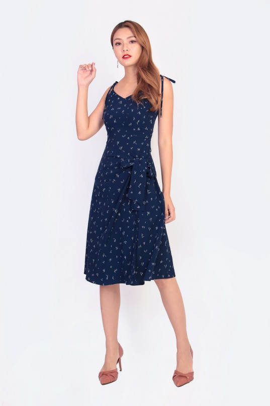 ab9a56a6962 Zaylee Printed Wrap Dress in Navy