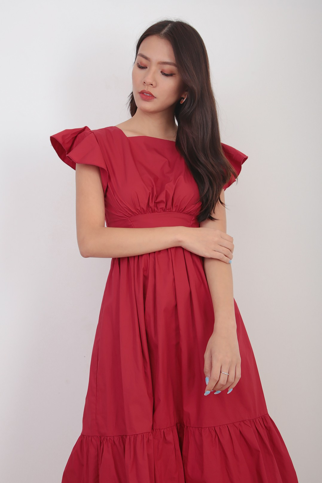 Embry Flutter Dress In Red Mgp