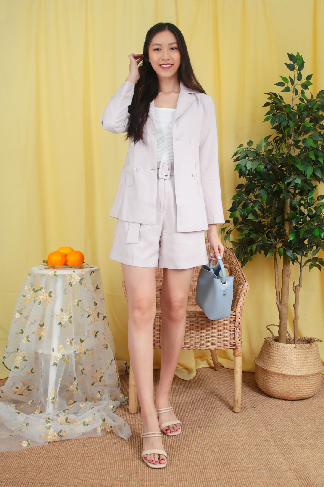 Layna Double Breasted Blazer in Nude - MGP