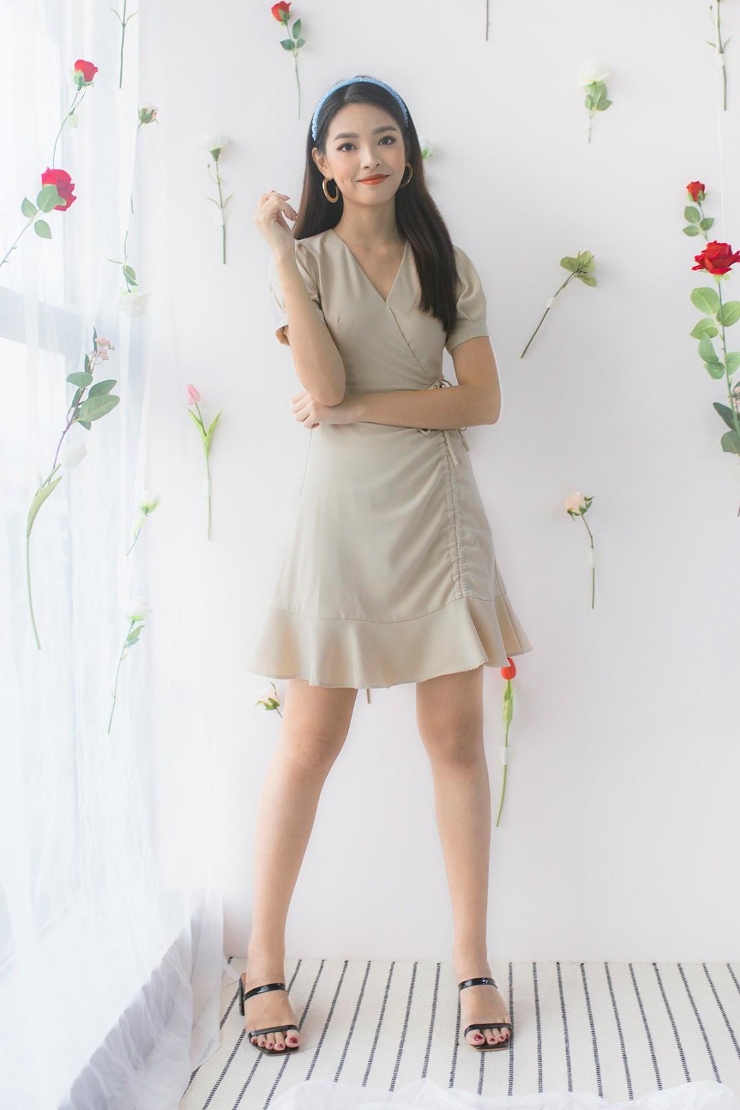 RESTOCK: Malvina Wrap Dress in Nude - MGP
