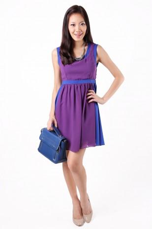 Medley Colorblock Dress in Purple