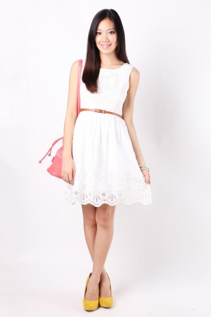 Sofia Embroidery Dress in White