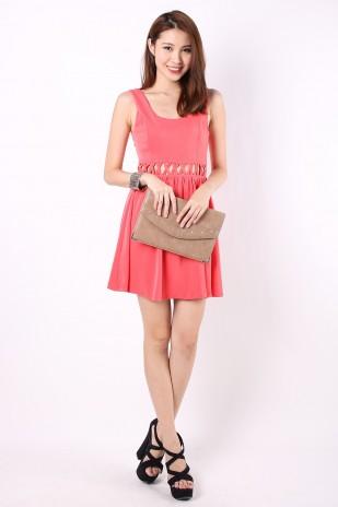 Avery Lattice Dress in Salmon Pink