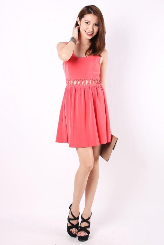 Avery Lattice Dress in Salmon Pink - MGP