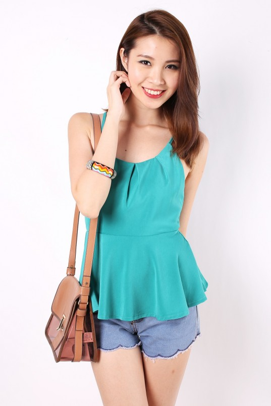 63ac0f58a84 Tinsley Side Slit Top in Teal