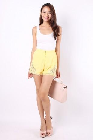 Reina Crochet Shorts in Yellow